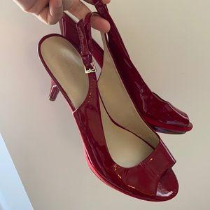 Nine West Patent red leather platform sandal heel